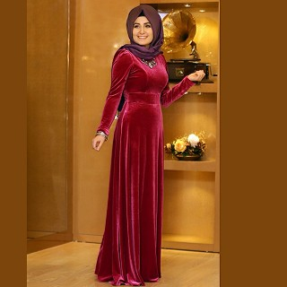 Burqa - Maroon Velvet Abaya