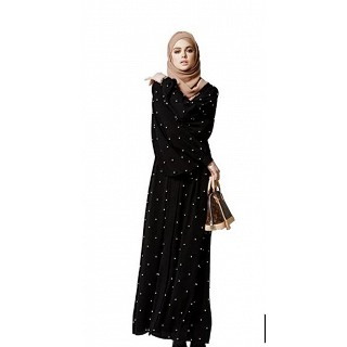 Pearl Beeds Abaya-Black and white print