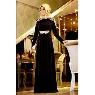 Abaya - Designer black velvet