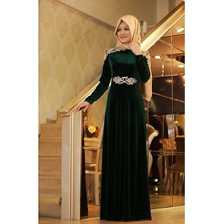 Abaya - Racing Green Velvet
