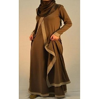 Abaya- Brown Stretchable Cloth with Cream Border Design