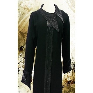 Coat style Abaya with Gray fix stone