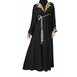 Dori Style Black Abaya with Neck Handwork
