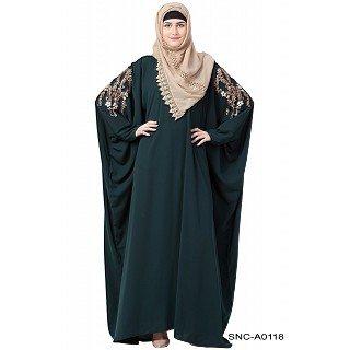 Casual embroidered Kaftan abaya- Bottle Green
