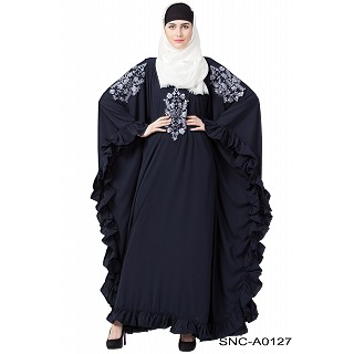 Embroidery Kaftan abaya with ruffled border- Navy Blue