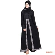 Black colored half front open Georgette Abaya
