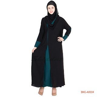 Naqab- Black colored Side open Double Layered Abaya