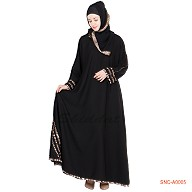 Black Colored Turkish Design Abaya -Fabric Georgette