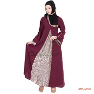 Abaya - maroon colored with tiger printed in front