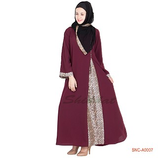 Side open abaya maroon colored, satin fabric