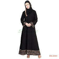 Abaya in turkish design with 5 line border