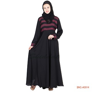 Abaya- Full Flair with Maroon Strip on Top