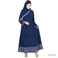 Blue colored Turkish abaya with 5 line border