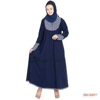 Abaya- Blue Colored with Print on Top