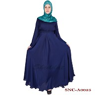 Full flared umbrella abaya - Monaco Blue