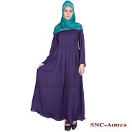 Pleated Purple Abaya - Nidha Fabric