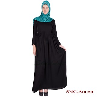 Black pleated abaya- Nidha Fabric