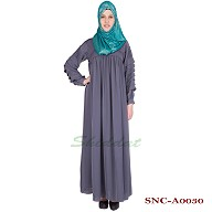 Pleated  Abaya - Dolphin Colored in Nidha Fabric
