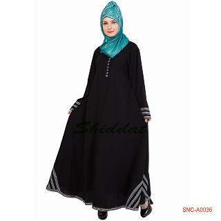 Turkish Abaya- Black Color printed Border