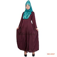 Umbrella abaya with pleats - Livid Brown