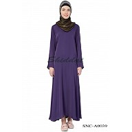 Simple Nida Abaya- Purple Colored