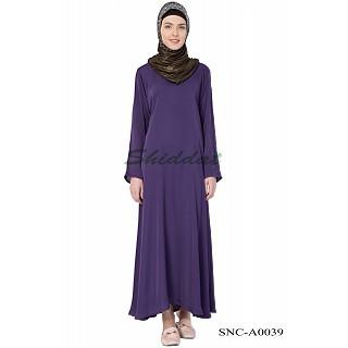 Simple Nida Abaya- Purple Colored