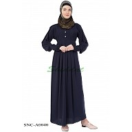 Pleated Abaya - Navy Blue