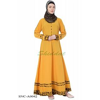 Casual abaya- Mustard