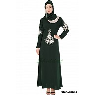 Designer Embroidered  Abaya- Dark Green