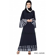 Casual  Abaya with frill Sleeves - Navy Blue