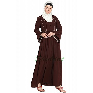 Simple A-line abaya- Coffee Brown color