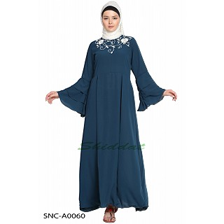 Embroidered abaya - Navy Blue