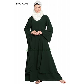 Layered abaya- Solid Bottle Green
