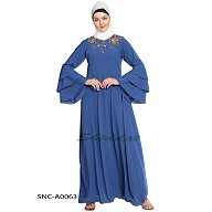 Embroidered abaya - Blue