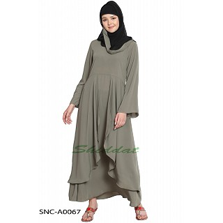 Layered abaya- Solid Bottle Grey