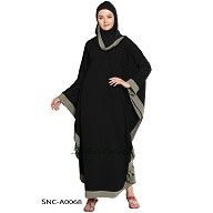 Black color kaftan with Grey printed borders