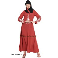Designer Embroidered  Abaya- Rust color