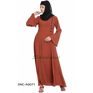 A-line abaya- Rust