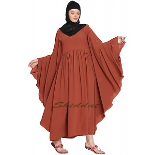 Kaftan abaya with pintucks- Rust color
