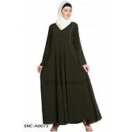 A-line abaya- Olive Green