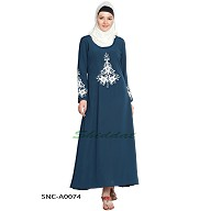 Designer Embroidered  Abaya- Navy-Blue color