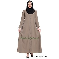 Front-open abaya- Beige color