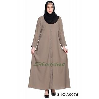 Front-open abaya- Beige color