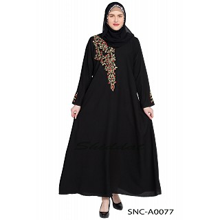 Black embroidery abaya