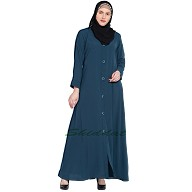 Front-open abaya- Blue color