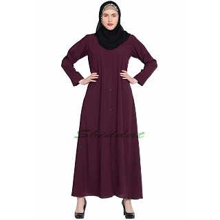 Front-open abaya- Maroon color