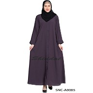 Front Open Abaya- Plum color