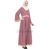 Casual pleated abaya- Pink color