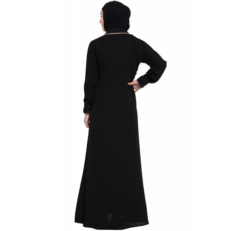 4fda2f8caa516 Collared casual abaya- Black
