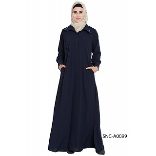 Collared casual abaya- Navy Blue